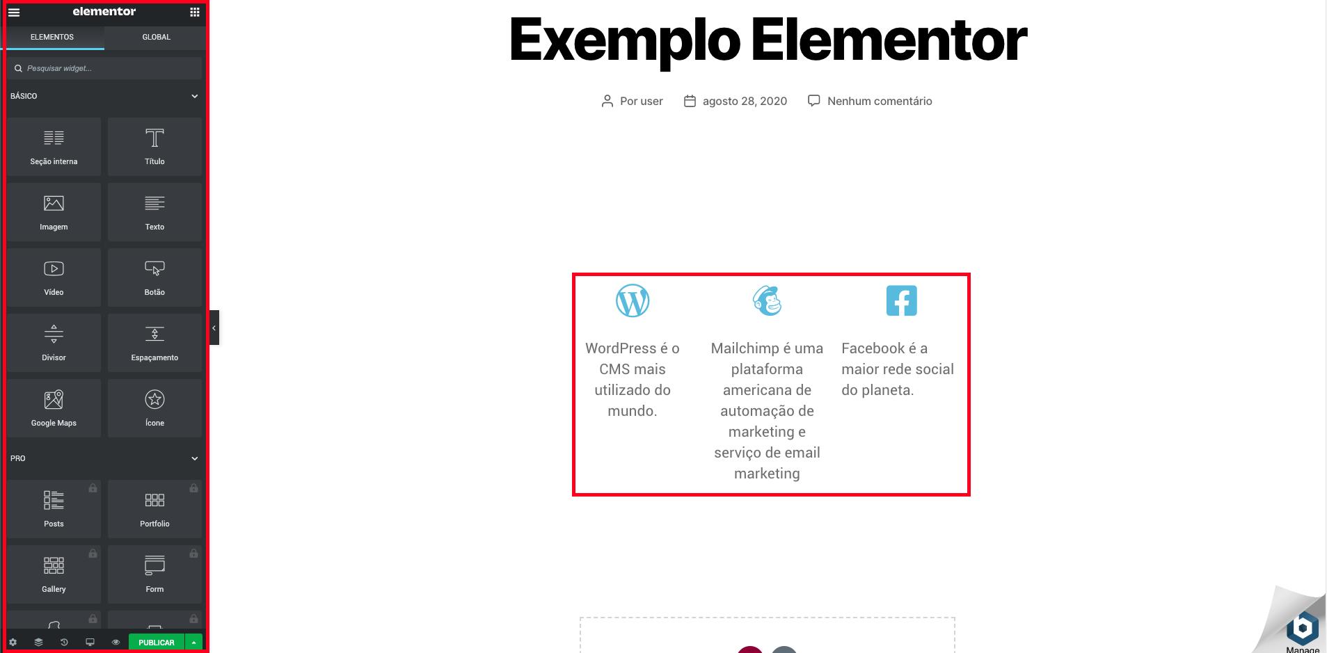 Exemplo Editor ao vivo Elementor