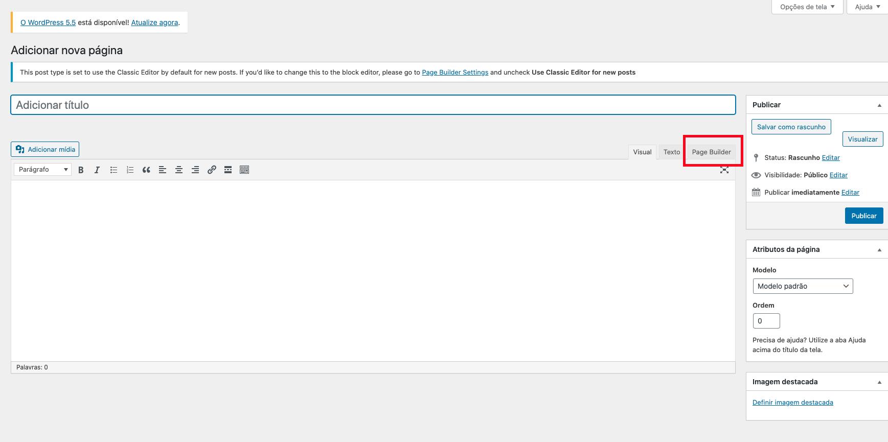 Opção Page Builder no Editor do WordPress