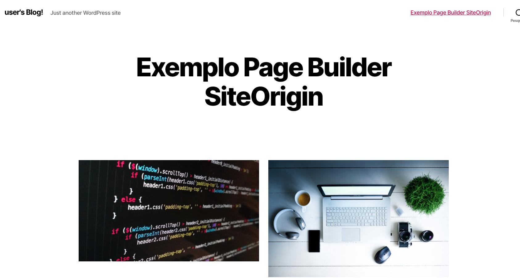 Pagina de exemplo com Page Builder SiteOrigin