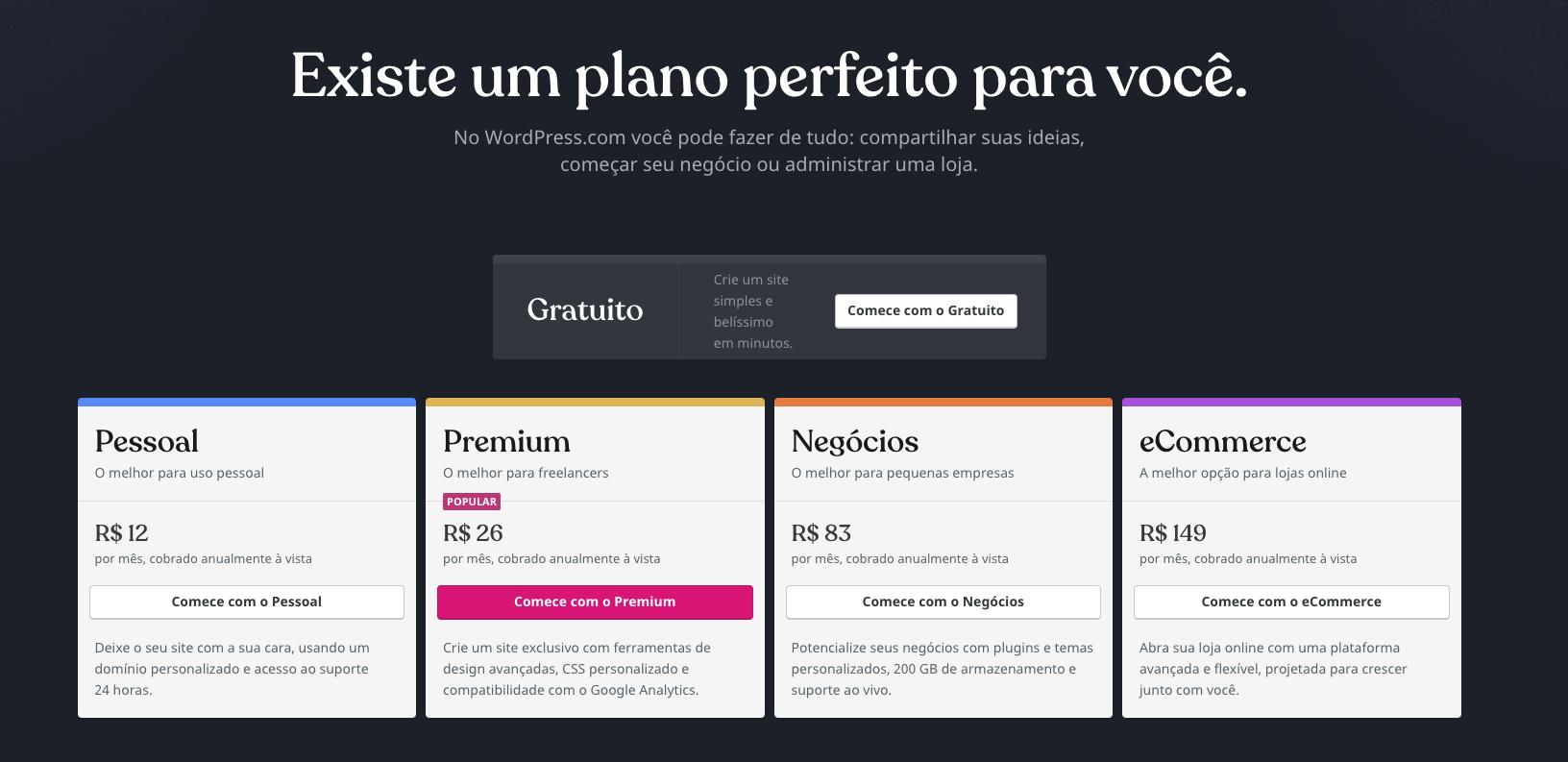 Planos de hospedagem do WordPress