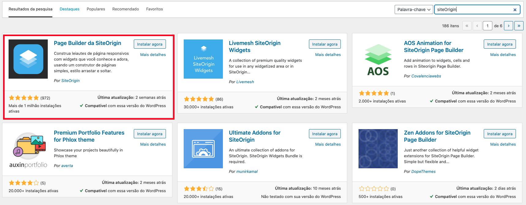 Plugin WordPress Page Builder Site Origin