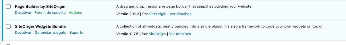 Plugins WordPress Ativados