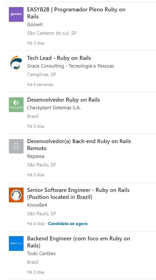 Vagas Ruby on Rails