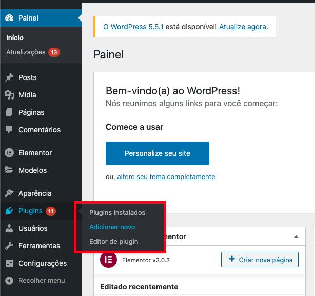 Adicionando novo plugin WordPress