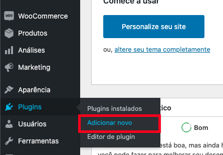 Adicionando plugin no painel do WordPress