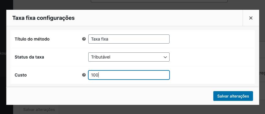 Configurando método de entrega Taxa Fixa