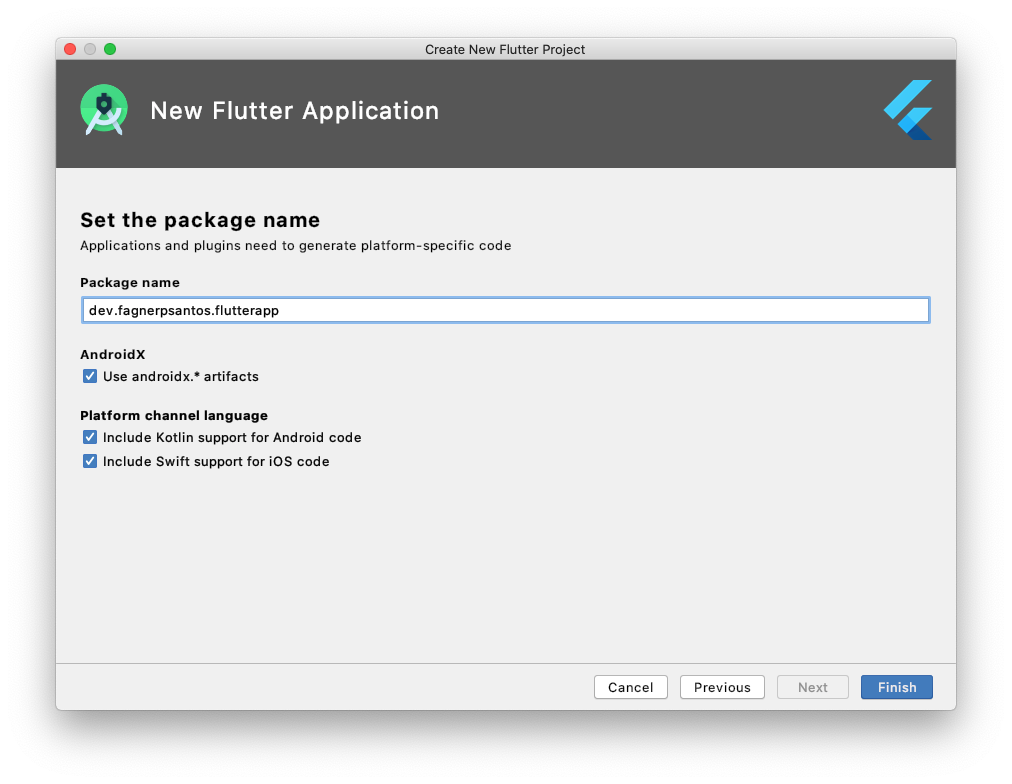 Definindo nome do pacote da aplicação Flutter