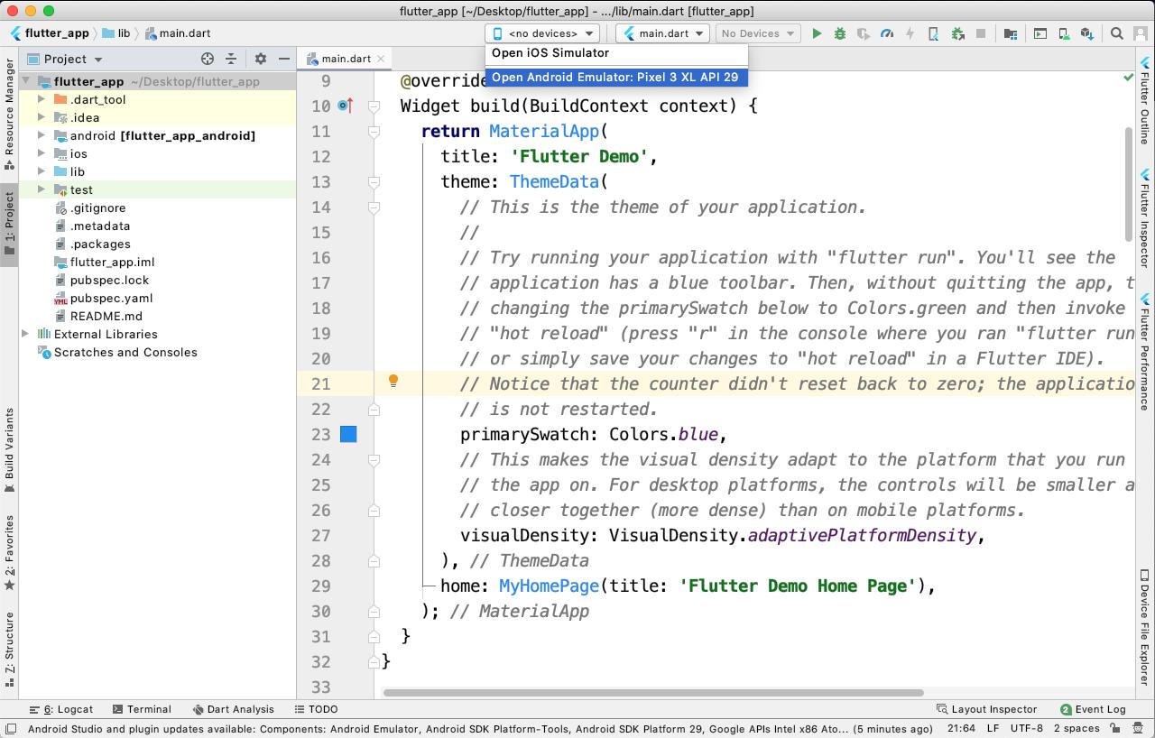 Executando emulador no Android Studio