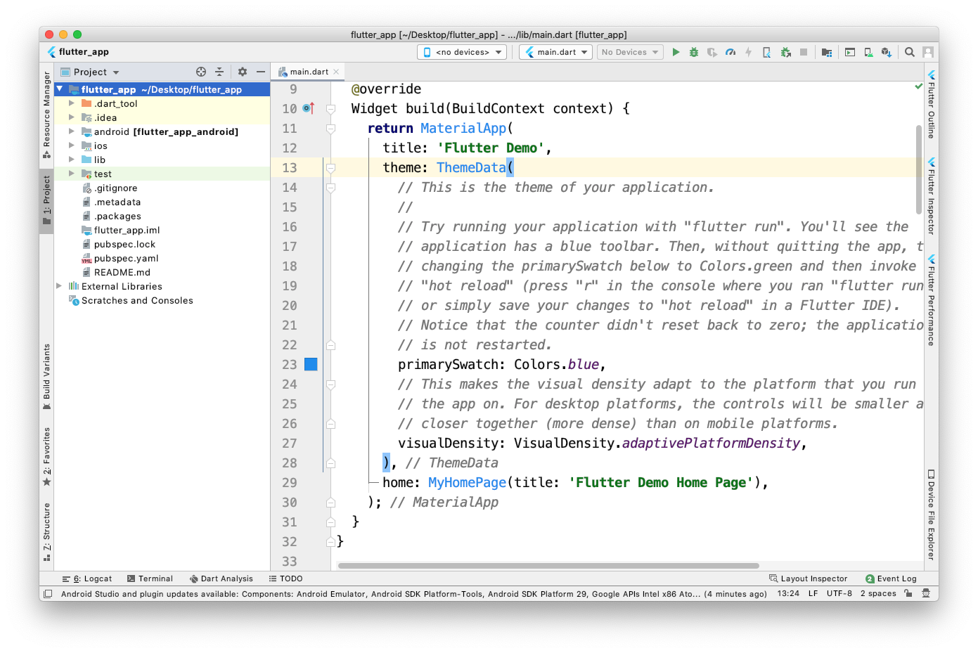 Projeto Flutter criado no Android Studio