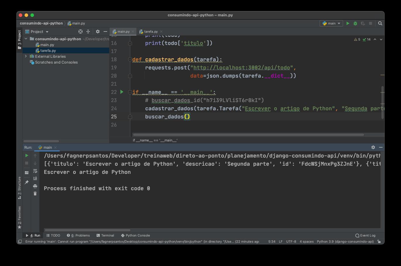 Cadastrando dados na API