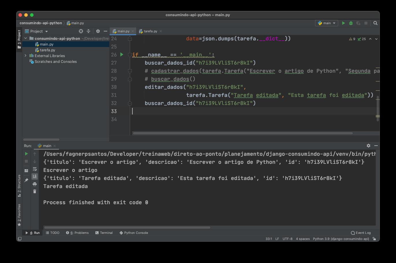 Editando dados na API