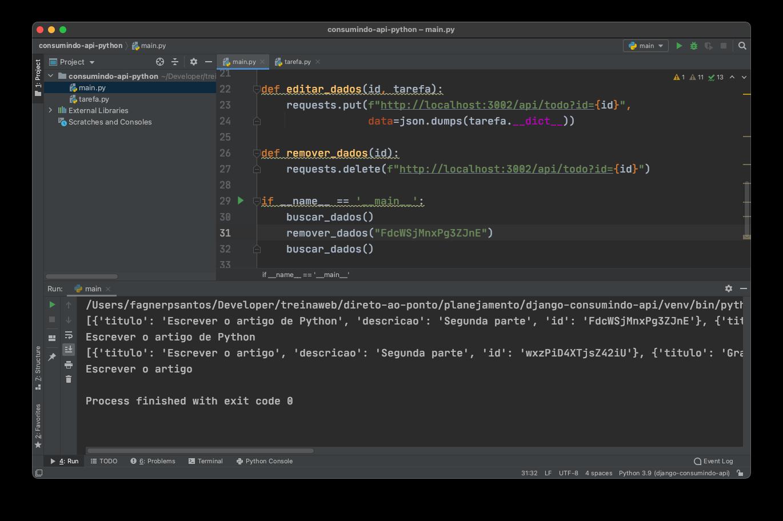 Removendo dados de uma API