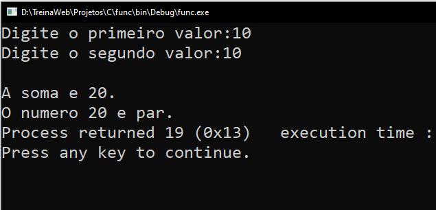 Resultado terminal exemplo procedimento