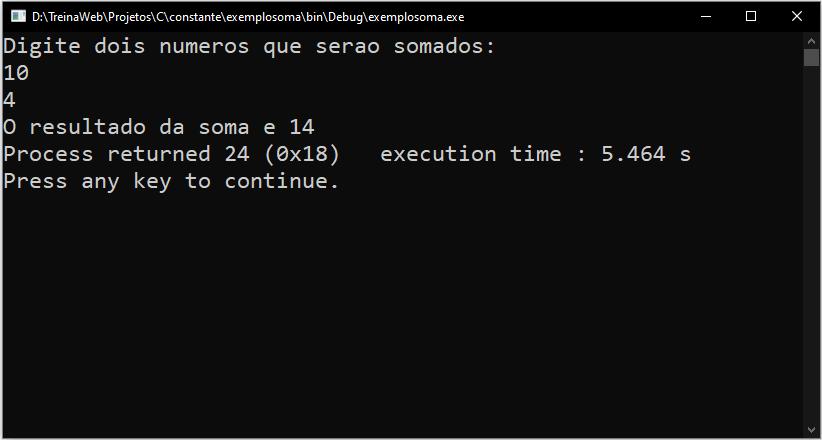 Resultado do exemplo em C