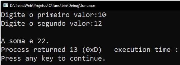 Resultado Terminal exemplo função
