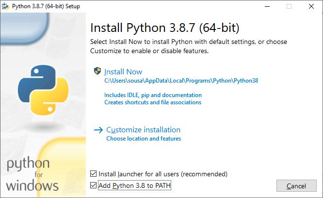 """Print da tela do assistente de instalação do Python com a opção """"Add Python 3.8 to PATH"""" marcada"""
