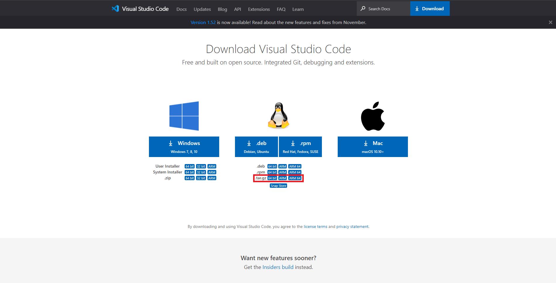 Imagem que demonstra a página de download da ferramenta VS Code no modo portátil para Linux