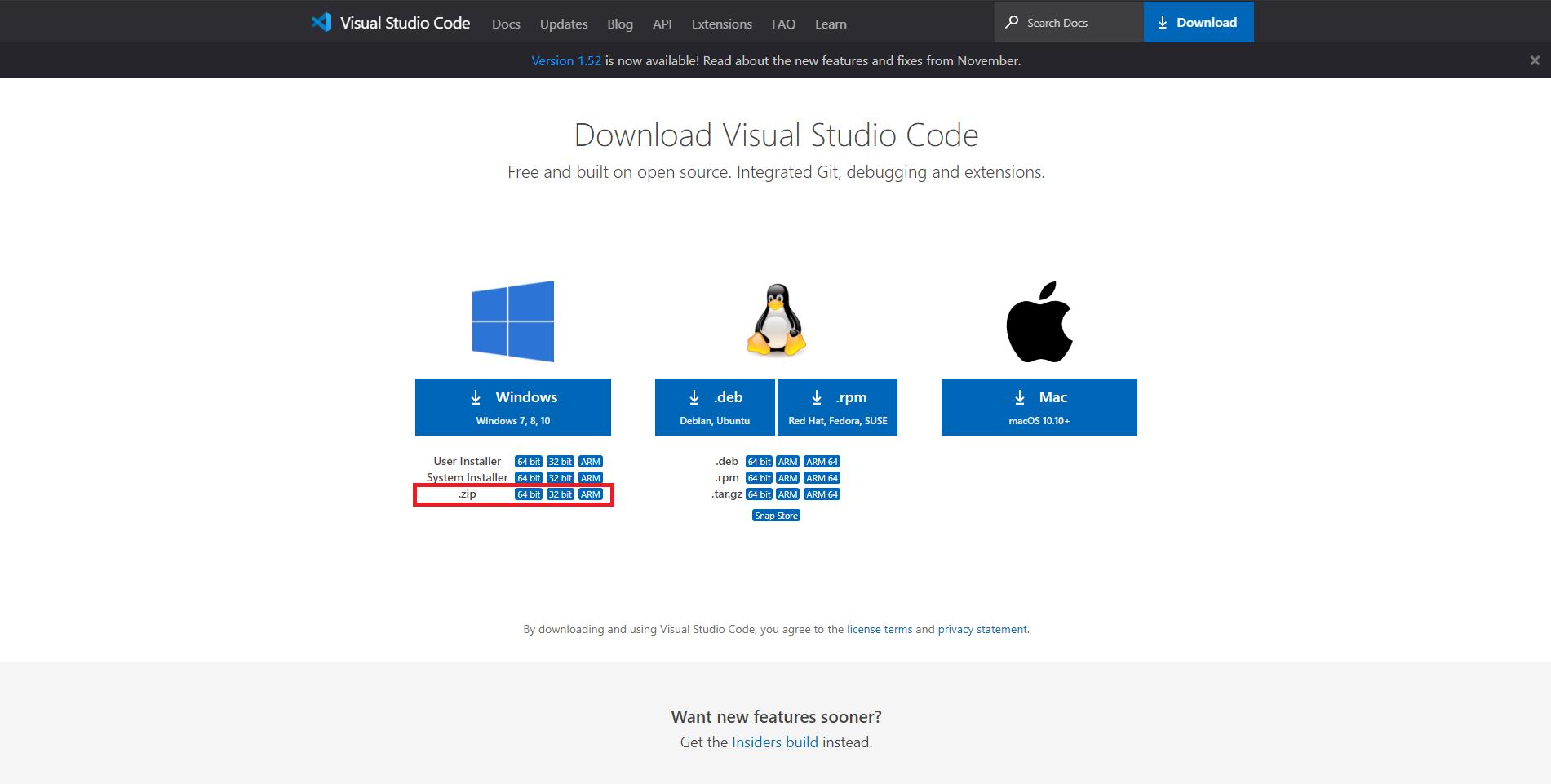 Imagem que demonstra a página de download da ferramenta VS Code no modo portátil para Windows
