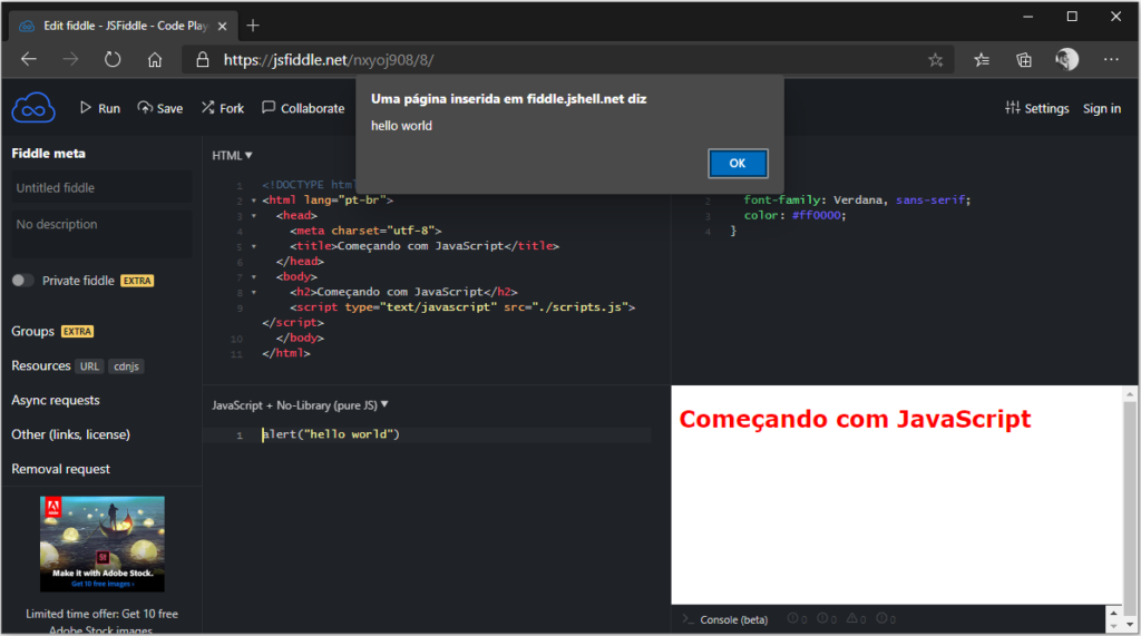 Testando código javascript online