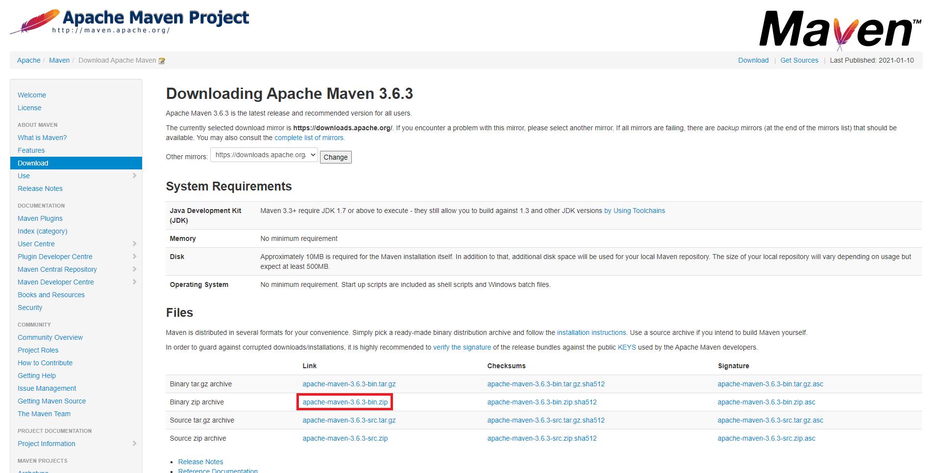 Página de download dos arquivos binários do Maven