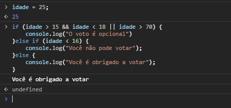 Utilizando estruturas condicionais no Javascript - ELSE