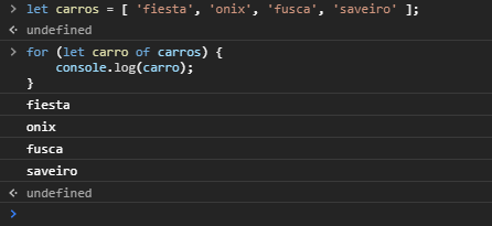 Utilizando estruturas de repetição no Javascript - FOR OF