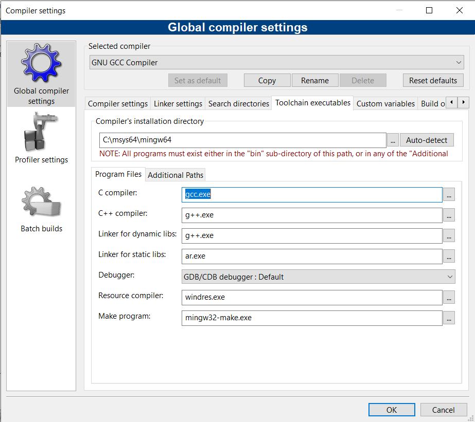 Aba Toolchain executables na tela de configuração do compilador do Code::Blocks