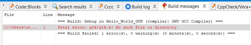 Erro de gtk não encontrado