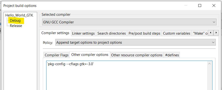 Aba Other compiler options selecionada na opção Debug