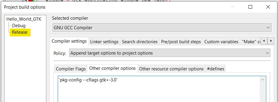 Aba Other compiler options selecionada na opção Release