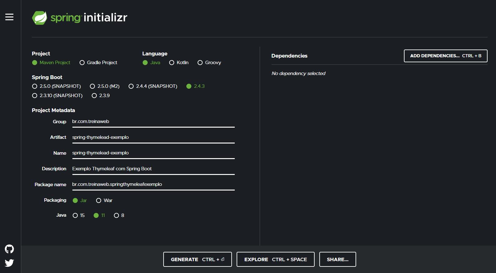 Página do Spring Initializr com os meta dados da aplicação