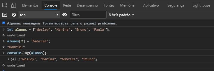 Alterando elementos de um array no JavaScript