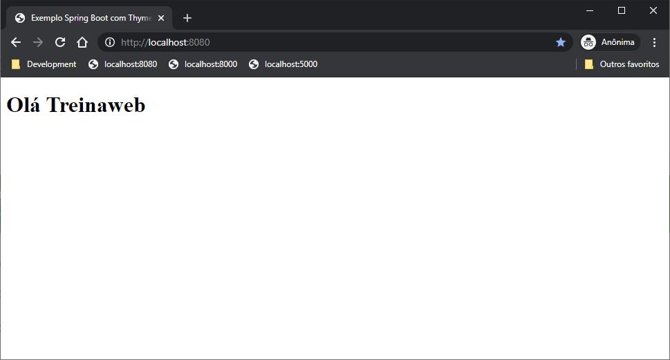 Página que será exibida quando o projeto for executado