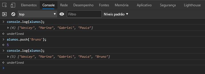 Usando método push para adicionar elemento a um array